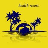 Isla de vacaciones por el mar, puesta del sol, delfínes de salto, silueta o Fotografía de archivo libre de regalías