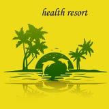 Isla de vacaciones por el mar, puesta del sol, delfínes de salto, silueta o Fotos de archivo libres de regalías
