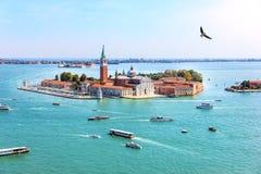 Isla de Venecia de San Giorgio Maggiore, Italia, visión aérea hermosa imagen de archivo libre de regalías