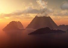 Isla de volcán en la puesta del sol Imagen de archivo libre de regalías