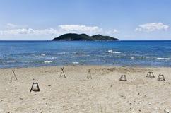 Isla de Zakynthos Grecia, la protección de la jerarquía de la tortuga Fotografía de archivo libre de regalías