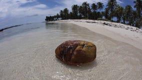 Isla del coco, de la playa y del telecontrol en el mar del Caribe metrajes