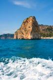 Isla del descubridor in Cabo Nao Cape at White coast Alicante Royalty Free Stock Images