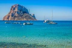 Isla del Es Vedra de Ibiza Cala d Hort en Balearic Island foto de archivo