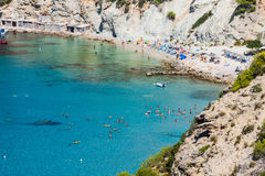 Isla del Es Vedra de Ibiza Cala d Hort en Balearic Island fotografía de archivo