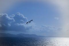Isla del fondo a través del océano Imagenes de archivo