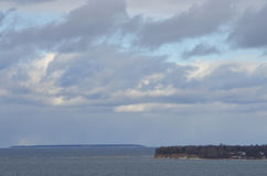 Isla del invierno en el mar Fotografía de archivo libre de regalías
