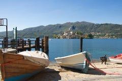 Isla del lago Orta - de San Julio - Piamonte - Italia Imagenes de archivo