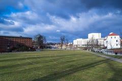 Isla del molino en Bydgoszcz, Polonia 02/05/2018 fotos de archivo