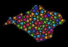 Isla del mosaico del mapa del Wight de las hojas brillantes del cáñamo ilustración del vector