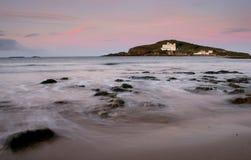 Isla del municipio escocés en la salida del sol Fotografía de archivo