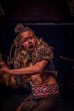 ISLA DEL NORTE, NUEVO SELANDIA 17 DE MAYO DE 2017: Baile del hombre de Tamaki Maori con la cara tradicionalmente tatooed y en tra Fotografía de archivo