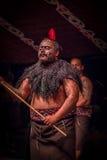 ISLA DEL NORTE, NUEVO SELANDIA 17 DE MAYO DE 2017: Ciérrese para arriba de un hombre del líder de Tamaki Maori con la cara tradic Imagen de archivo
