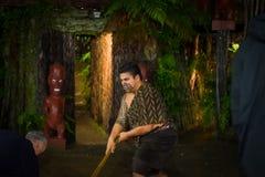ISLA DEL NORTE, NUEVO SELANDIA 17 DE MAYO DE 2017: Hombre maorí con la cara tradicionalmente tatooed en vestido tradicional en Ma Imagen de archivo