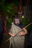ISLA DEL NORTE, NUEVO SELANDIA 17 DE MAYO DE 2017: Hombre maorí con la cara tradicionalmente tatooed en vestido tradicional en Ma Imágenes de archivo libres de regalías
