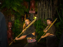 ISLA DEL NORTE, NUEVO SELANDIA 17 DE MAYO DE 2017: Hombres maoríes con la cara tradicionalmente tatooed en vestido tradicional en Imagen de archivo libre de regalías