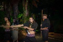 ISLA DEL NORTE, NUEVO SELANDIA 17 DE MAYO DE 2017: Hombres maoríes con la cara tradicionalmente tatooed en vestido tradicional en Fotografía de archivo