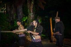 ISLA DEL NORTE, NUEVO SELANDIA 17 DE MAYO DE 2017: Hombres maoríes con la cara tradicionalmente tatooed en vestido tradicional en Imagen de archivo