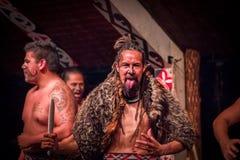 ISLA DEL NORTE, NUEVO SELANDIA 17 DE MAYO DE 2017: Los hombres uno de Tamaki Maori están pegando hacia fuera la lengua con la car Fotos de archivo