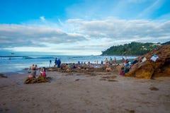 ISLA DEL NORTE, NUEVO SELANDIA 16 DE MAYO DE 2017: Los turistas que cavan sus propias aguas termales en agua caliente varan, Coro Imagen de archivo