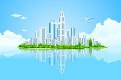 Isla del paisaje de la ciudad con los árboles verdes ilustración del vector