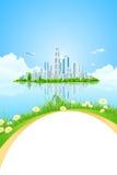 Isla del paisaje de la ciudad con los árboles verdes stock de ilustración