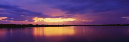 Isla del pino en la puesta del sol Fotografía de archivo