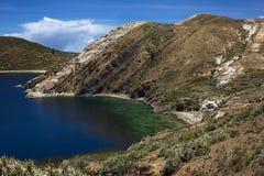 Isla del Sol在的喀喀湖,玻利维亚 库存图片