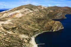 Isla del Sol在的喀喀湖,玻利维亚 库存照片