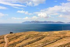 Isla del Sol, λίμνη Titicaca. Στοκ Εικόνα