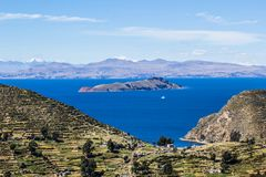 Isla del Sol. On the Titicaca lake, Bolivia stock images