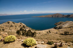 Isla del Sol, Bolivia. A view on Lake Titicaca from Isla del Sol in Bolivia stock photography