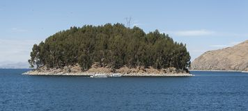 Isla del Sol, Bolivia, panorama from the top of the island stock images