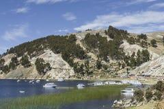 Isla del Sol Eiland van de Zon bolivië Het meer van Titicaca Zuiden A Stock Afbeelding