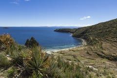 Isla del Sol Eiland van de Zon bolivië Het meer van Titicaca Zuiden A Stock Foto