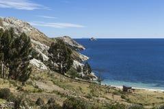 Isla del Sol Eiland van de Zon bolivië Het meer van Titicaca Zuiden A Stock Foto's