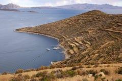 Isla del sol en el lago Titicaca, Bolivia Imagen de archivo libre de regalías