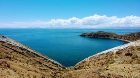 Isla del Sol in het hart van Titicaca Stock Fotografie