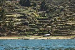 Isla del Sol i sjön Titicaca, Bolivia Arkivfoto