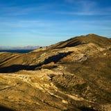 Isla del Sol i sjön Titicaca, Bolivia Arkivbilder