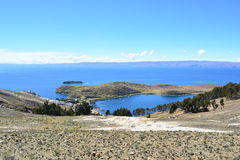 Isla del Sol island, in Titicaca Lake, Bolivia. The Isla del Sol sun island was an important place for the Inca empire and now is an important touristical Stock Image