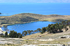 Isla del Sol island, in Titicaca Lake, Bolivia. The Isla del Sol sun island was an important place for the Inca empire and now is an important touristical Royalty Free Stock Image
