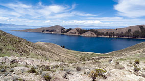 Isla del Sol Lake Titicaca. View of Isla del Sol and Lake Titicaca, La Paz Department, Bolivia royalty free stock photography