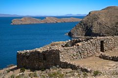 Isla del Sol , Lake Titicaca in Bolivia. Inca ruins of buildings on Isla del Sol on Lake Titicaca, Bolivia Royalty Free Stock Photography