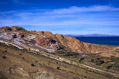 Isla del Sol in Meer Titicaca, Bolivië Stock Foto's