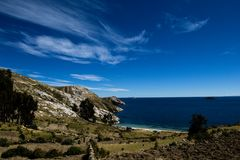 Isla del Sol op het Titicaca-meer, Bolivië. Stock Fotografie