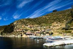 Isla del Sol op het Titicaca-meer, Bolivië. Royalty-vrije Stock Foto's