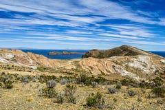 Isla del Sol op het Titicaca-meer, Bolivië. Stock Foto