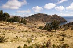Isla del sol op Titicaca meer, Bolivië Stock Foto