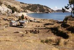 Isla del sol op Titicaca-meer, Bolivië Stock Foto